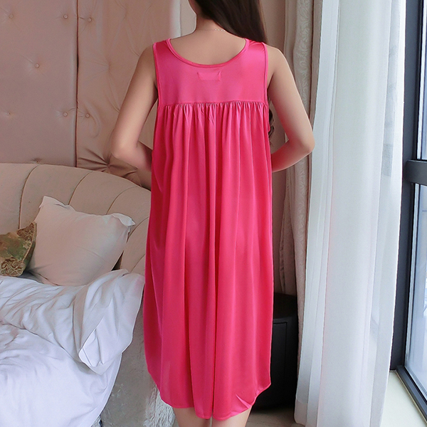 Lace Floral Texture Silk Summer Wear Nighty - Pink