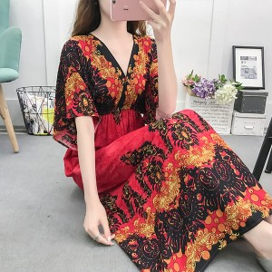 Elastic Waist Loose Bohemian Beachwear Dress