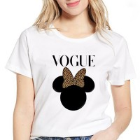 Cartoon Prints Loose Round Neck Women T-Shirts - White