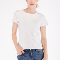Short-sleeved Slim Tights Polyester Women T-shirts - White