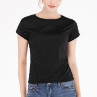 Short-sleeved Slim Tights Polyester Women T-shirts - Black