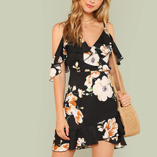 Floral Prints Strap Shoulder Printed Mini Dress