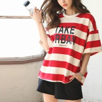 Two Pieces Stripes Printed Shorts Summer Suit - Red