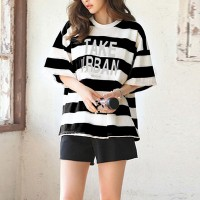 Two Pieces Stripes Printed Shorts Summer Suit - Black