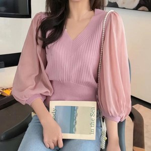 Loose V-neck Solid Lantern Sleeve Women Tops - Pink