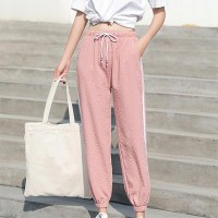Side Striped Spliced Loose Drawstring Trousers - Pink