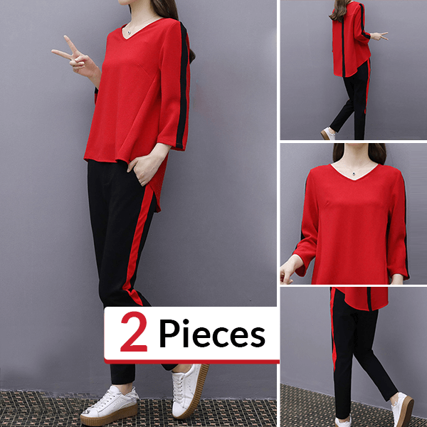 Beautiful Winter Wear V Neckline Two Piece Suit - Red