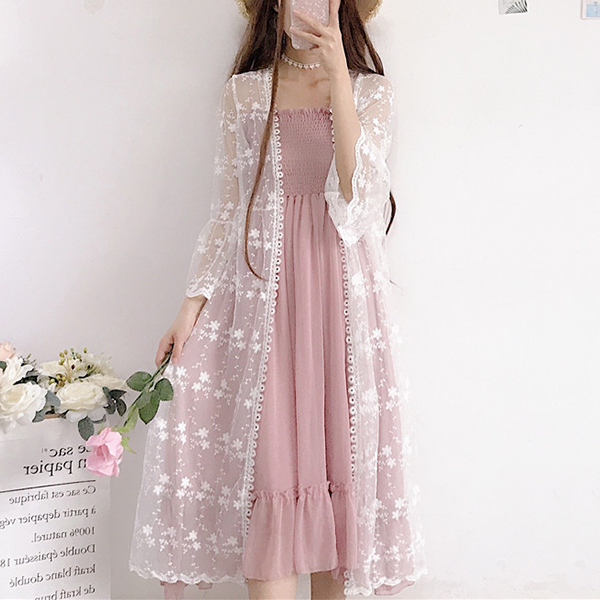 Lace Floral Thread Art Summer Cardigan - Flowers