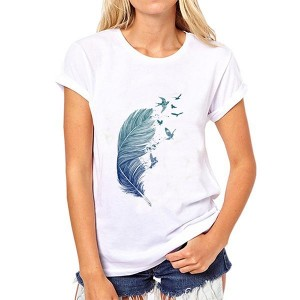 Flying Birds Printed Round Neck Women T-shirts - White