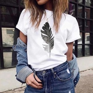 Loose Short Sleeve Leaf Print Women T-shirts - White