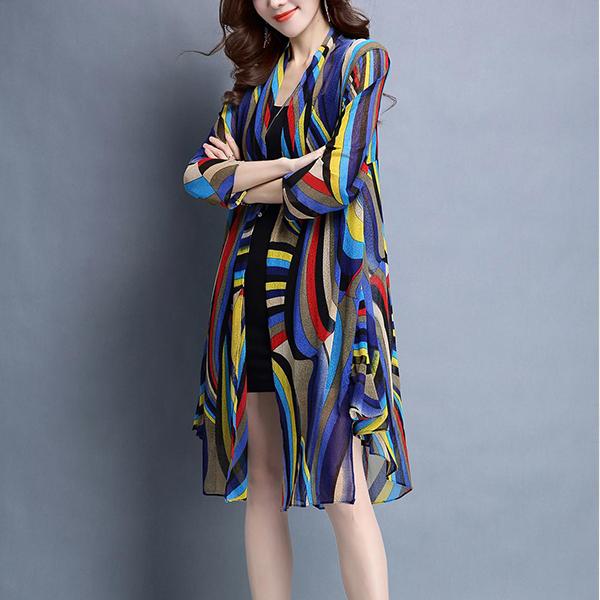 Shawl Neck Colorful Striped Thin Fabric Cardigan