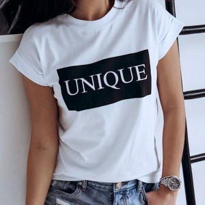 Letters Printed Trendy Short Sleeve Women T-shirts - White