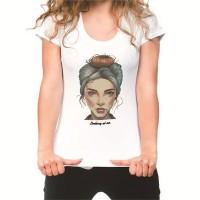 Lady Face Print Loose Short Sleeve Women T-shirts - White