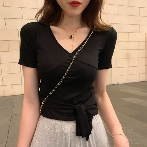 Wrapped Waist Knot V Neck T-Shirt - Black