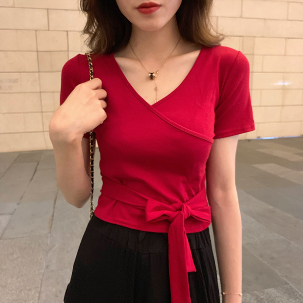 Wrapped Waist Knot V Neck T-Shirt - Red