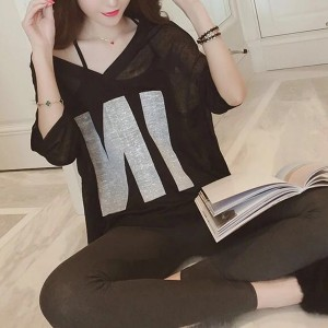 Inner Blouse With Thin Fabric Outwear T-Shirt - Black