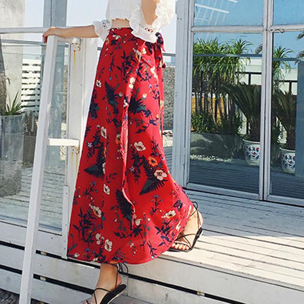 Chiffon Floral Irregular Beach Wear Skirt Bottom