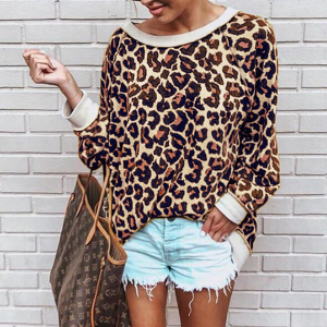 Leopard Printed Loose Casual T-Shirt - Multicolor