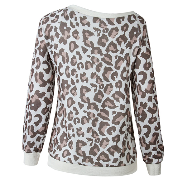 Leopard Printed Loose Casual T-Shirt - Green