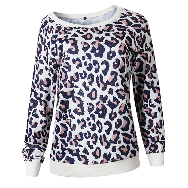 Leopard Printed Loose Casual T-Shirt - Blue
