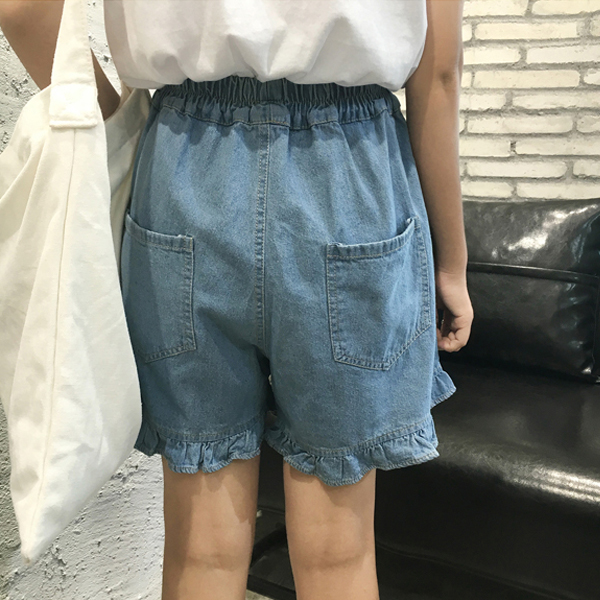 Waist String Elastic Pockets Denim Shorts - Blue