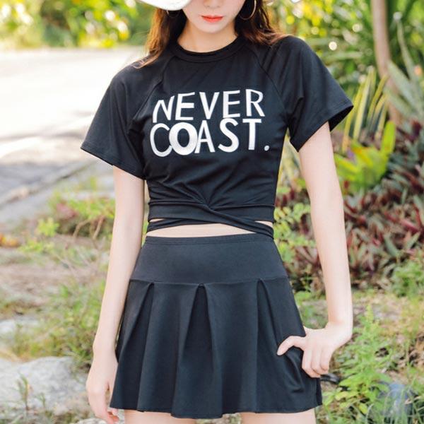 Text Prints Two Pieces Swimwear Suit - Black
