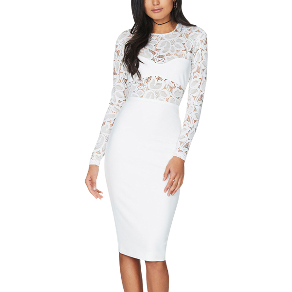 Round Neck Full Lace Patchwork White Sexy Party Dress