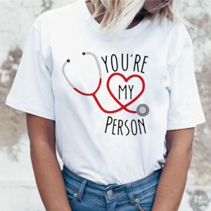 Letters Heart Printed Short Sleeves Women T-shits - White