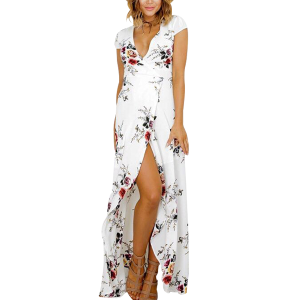 V-neck Floral Print Sexy Fork Beach Dress White Maxi