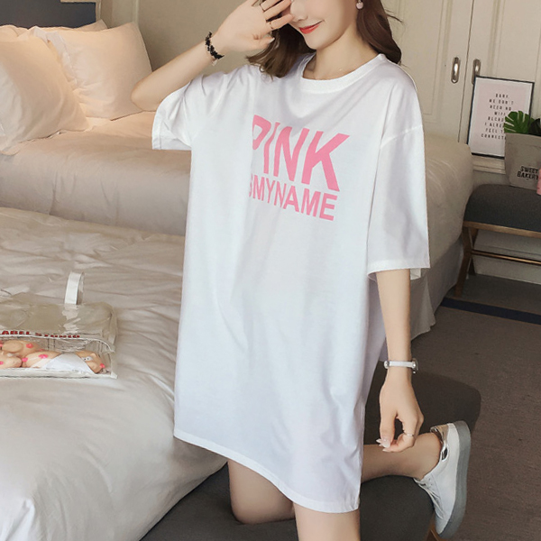 Printed Loose Party Wear T-Shirt - White