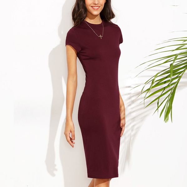Crew Neck Knee Length Short Sleeve Burgundy Dress
