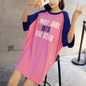 Contrast Loose Wear Summer Loose T-Shirt - Pink