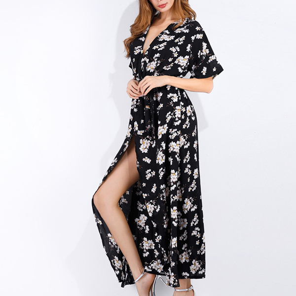 Waist Belt Split Maxi Floral Print Beach Dress - Black