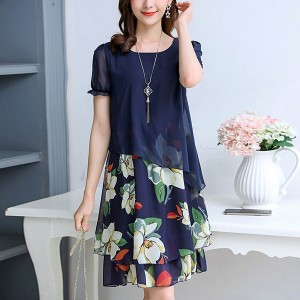 Irregular Fake Two Piece Mini Skirt Dress - Dark Blue