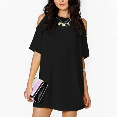 Casual Off Shoulder Top For Women Chiffon Blouse Black