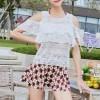 Hot Spring Three-piece Bikini Skirt Beach Swimsuit - Burgundy
