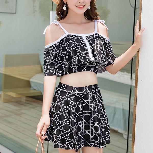 Spaghetti Strap Geometrical Prints Beachwear Suit - Black