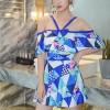 Geometric Prints Strap Shoulder Swimsuit - Blue