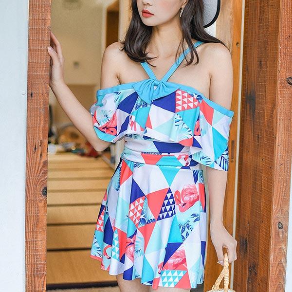 Geometric Prints Strap Shoulder Swimsuit - Multicolor
