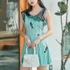 Birds Print Round Neck Sleeveless Mini Dress - Sea Green