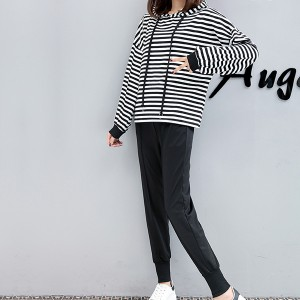 Summer Wear Hoodie Top With Trousers Suit - White Lines