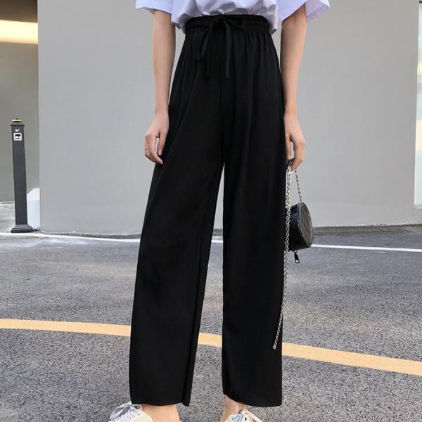 Elastic Waist String Bell Bottom Trousers - Black