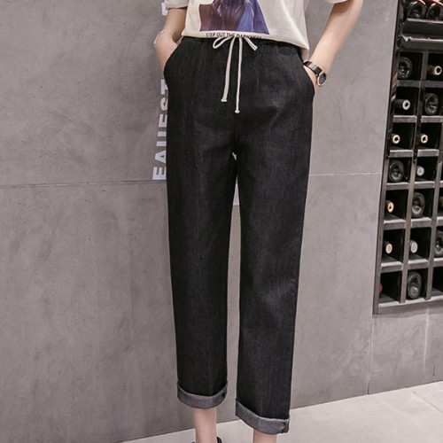String Waist Narrow Bottom Denim Jeans - Black