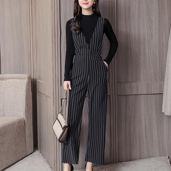 Long Striped Deep V-neck Two-piece Women Suit - Black