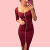 Zipper Square Neck Body con Party Dress - Burgundy