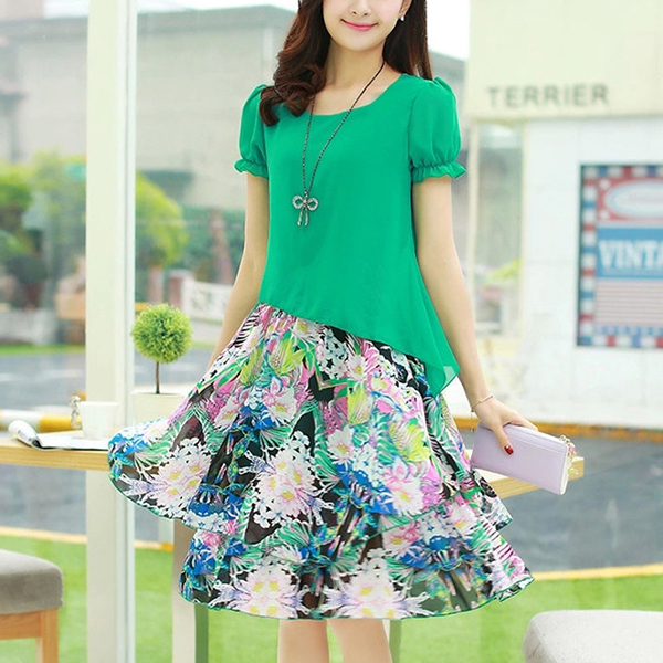 Irregular Fake Two Piece Mini Skirt Dress - Green