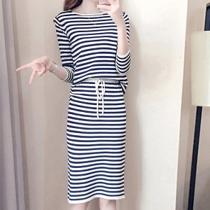 Simple Stripes Style Long Sleeves Two Piece Dress - Black