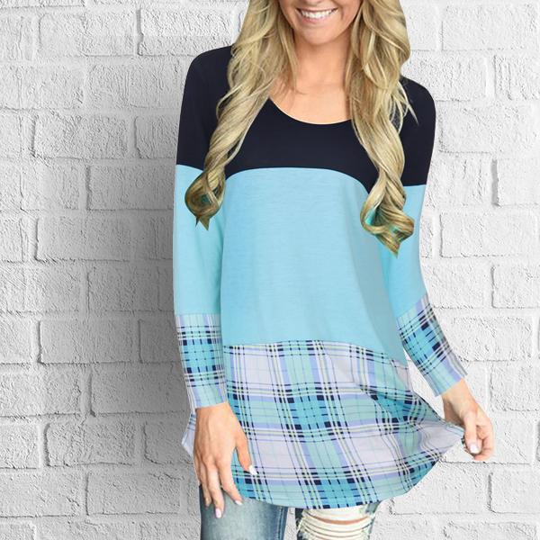 Long Sleeves Block Plaid Blue T-Shirt