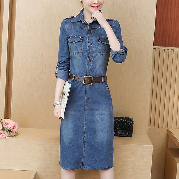 Denim Women Mid-length Long Sleeve Casual Dress - Dark Blue