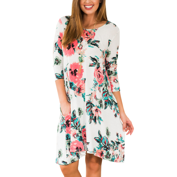 Boat Neck Printed Floral Mini Dress